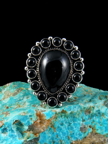 Black Onyx Sterling Silver Ring, Size 9 1/2