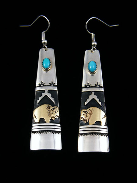 Sterling Silver Turquoise Buffalo Overlay Earrings