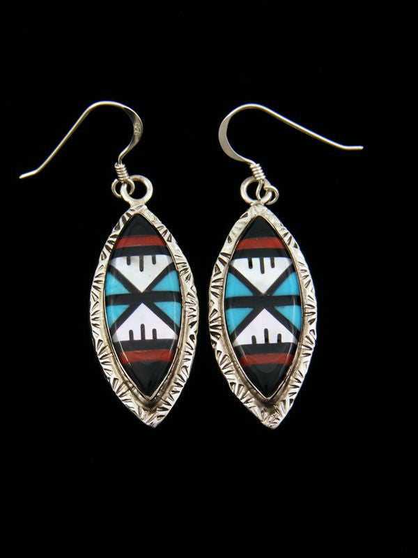 Zuni Inlay Earrings by Gladys Lamy - PuebloDirect.com
