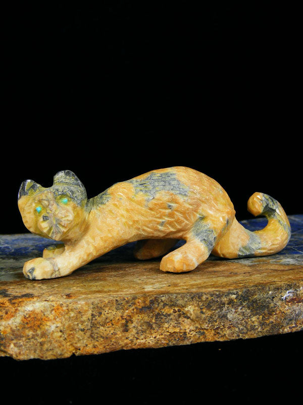Egyptian Marble Mountain Lion Zuni Fetish by Wilfred Cheama - PuebloDirect.com - 1