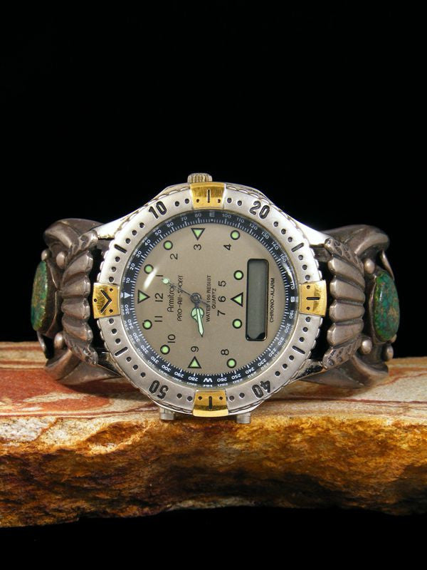 Old Pawn Indian Jewelry Turquoise Sterling Silver Cuff Watch by Johnny Pablo - PuebloDirect.com - 1
