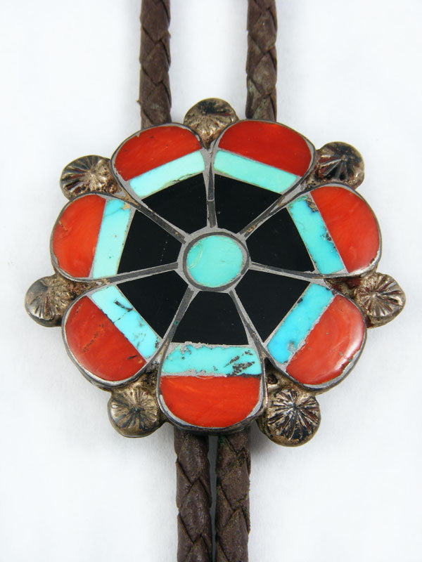 Old Pawn Indian Jewelry Zuni Inlay Bolo Tie by Vintage Jewelry - PuebloDirect.com