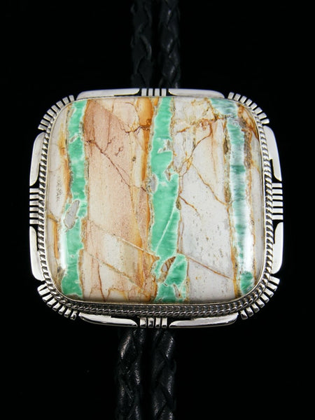Native American Indian Sterling Silver Variscite Bolo Tie by Phil Sanchez - PuebloDirect.com
