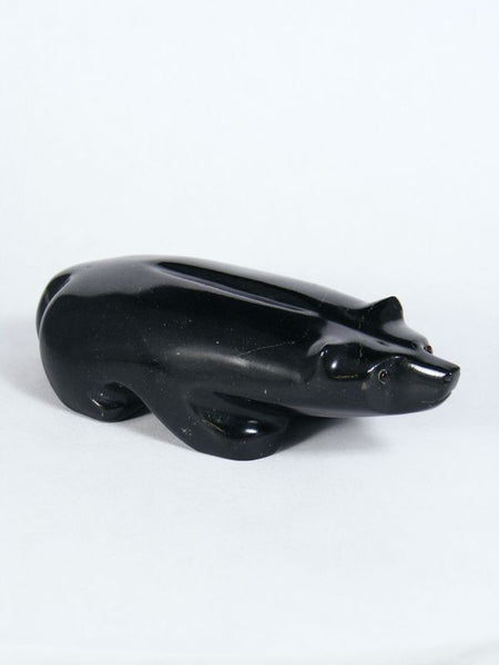 Black Marble Badger Zuni Fetish by Orin Eriacho - PuebloDirect.com - 1