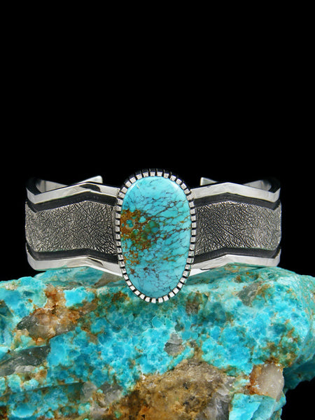 Native American Turquoise Sterling Silver Ingot Bracelet