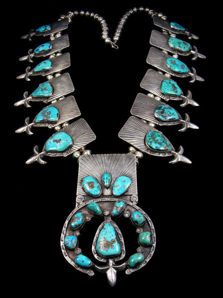 Old Pawn Morenci Turquoise Large Squash Blossom Necklace