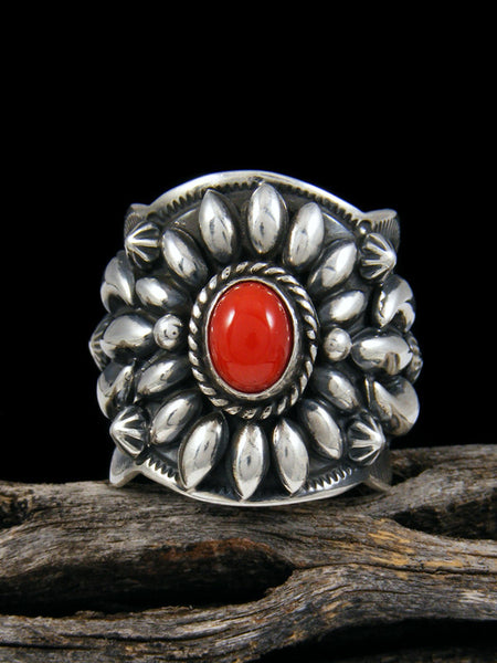 Coral Repousse Men's Ring, Size 9 1/2