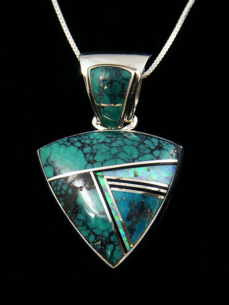 Native American Sterling Silver Inlay Pendant by Sheryl Martinez - PuebloDirect.com