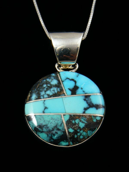 Native American Turquoise Inlay Pendant by Sheryl Martinez - PuebloDirect.com