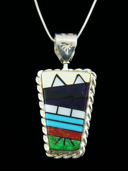 Native American Reversible Zuni Inlay Kachina Pendant by Bevis Tsadasi - PuebloDirect.com - 1