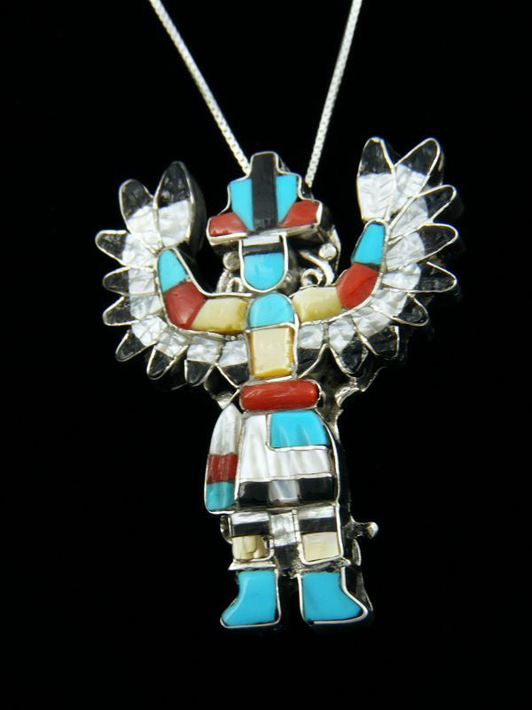 Zuni Eagle Dancer Pin/Pendant by Pablita Quam - PuebloDirect.com