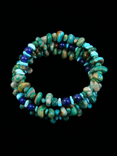 Native American Turquoise and Lapis Bead Wrap Bracelet