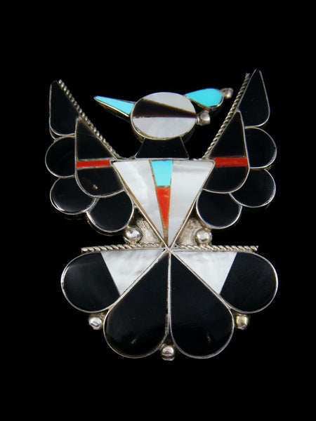 Vintage Sterling Silver Zuni Inlay Thunderbird Pin Pendant