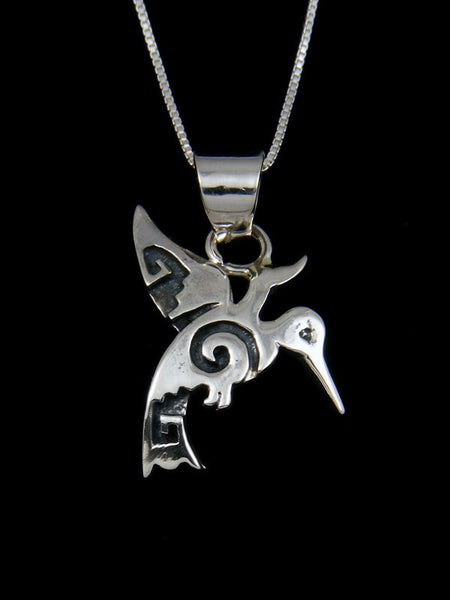Navajo Sterling Silver Overlay Hummingbird Necklace