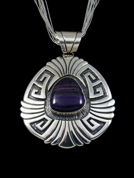 Native American Purple Sugilite Sterling Silver Pendant