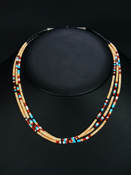 Native American Indian Bead Multi Strand Necklace