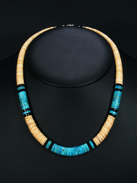 Native American Indian Santo Domingo Shell and Turquoise Necklace