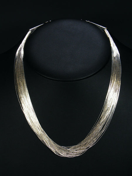 30 Strand Liquid Silver Necklace