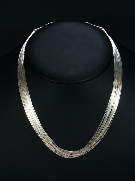 "20 Strand Liquid Silver 18"" Necklace"