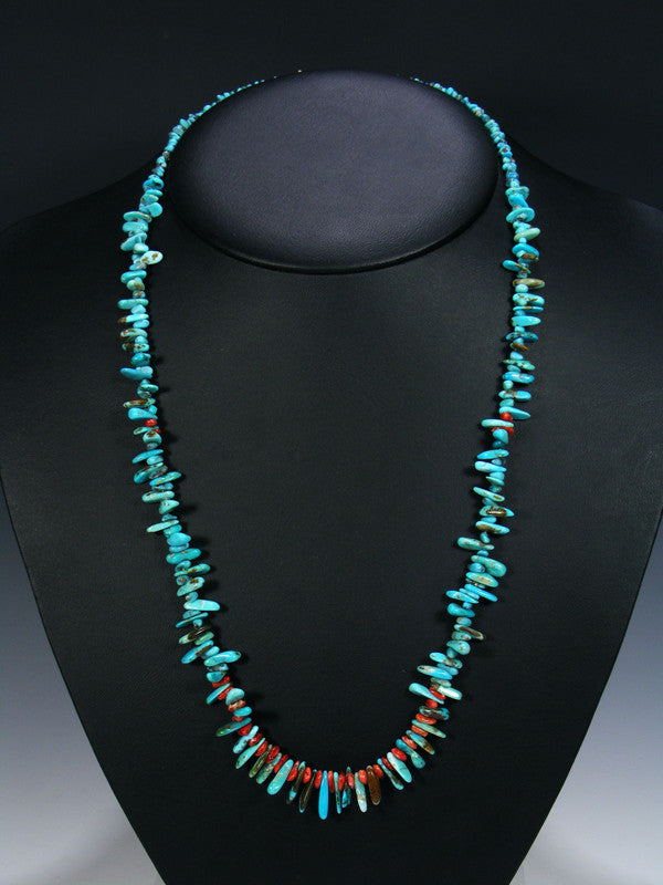 Native American Indian Santo Domingo Turquoise and Spiny Oyster Necklace