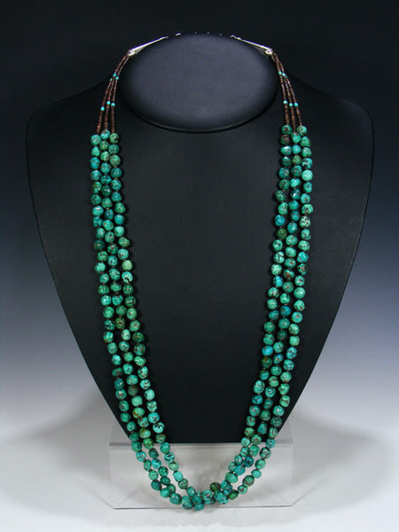 Native American Indian Turquoise Three Strand Necklace