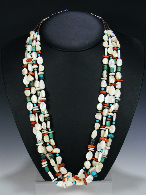 Native American Multi Strand Shell and Spiny Oyster Necklace