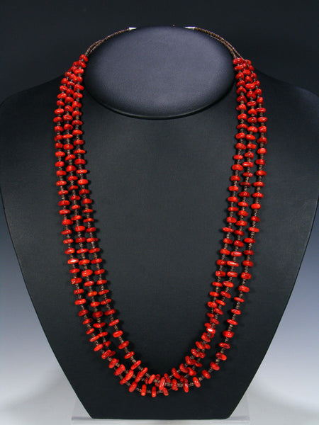 Native American Coral Heishi Triple Strand Necklace