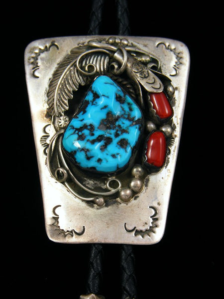 Old Pawn Native Jewelry Sterling Silver Turquoise & Coral Bolo Tie