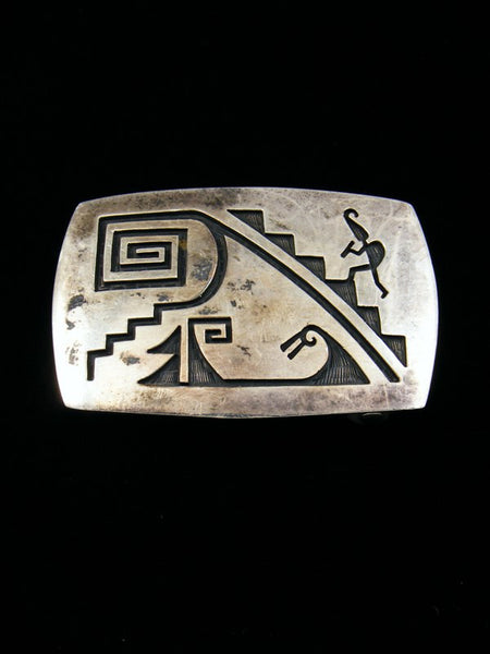 Old Pawn Indian Hopi Jewelry Sterling Silver Belt Buckle