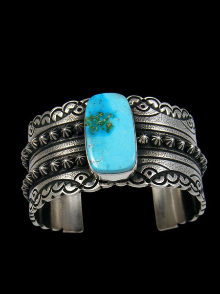 Estate Native American Sterling Silver Turquoise Bracelet