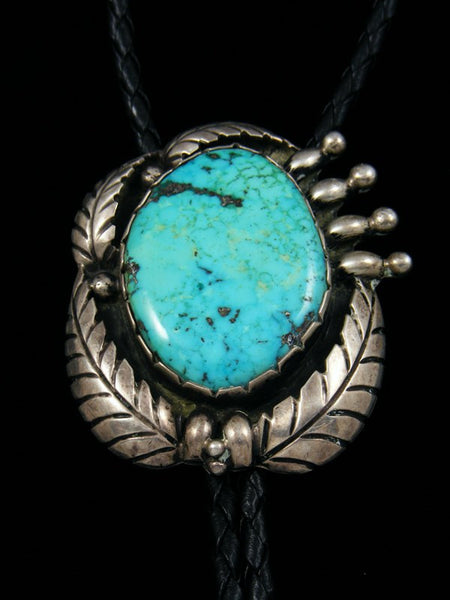 Old Pawn Sterling Silver Turquoise Bolo Tie