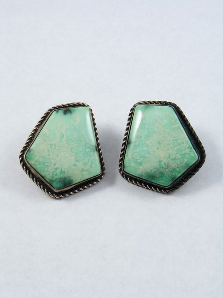 Vintage Sterling Silver Clip-On Variscite Earrings