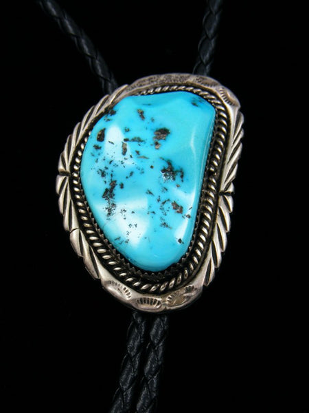 Old Pawn Sterling Silver Sleeping Beauty Turquoise Bolo Tie