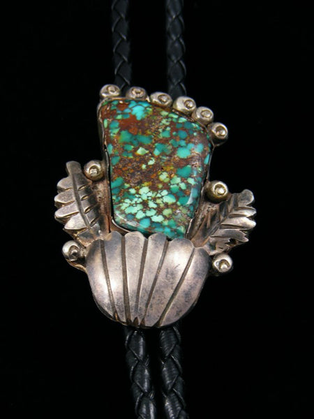 Old Pawn Navajo Sterling Silver Turquoise Bolo Tie
