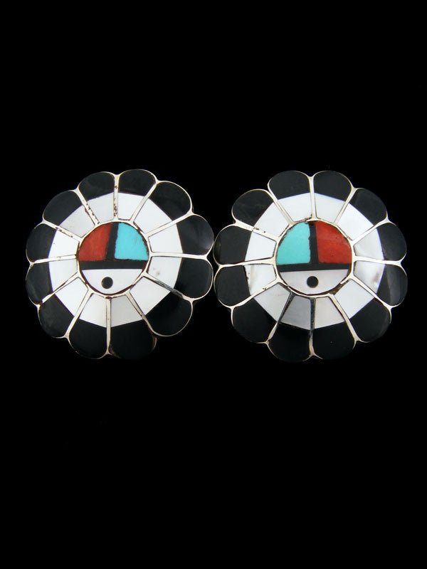 Zuni Inlay Sunface Earrings by Larry Dickson - PuebloDirect.com