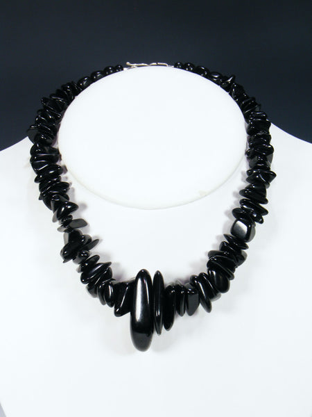 Native American Santo Domingo Black Jet Necklace