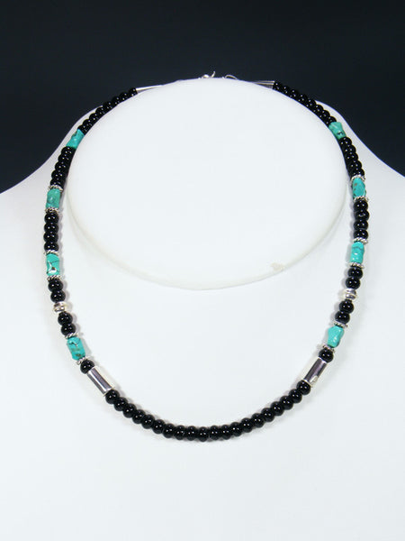 "Onyx and Turquoise 18"" Single Strand Choker Bead Necklace"