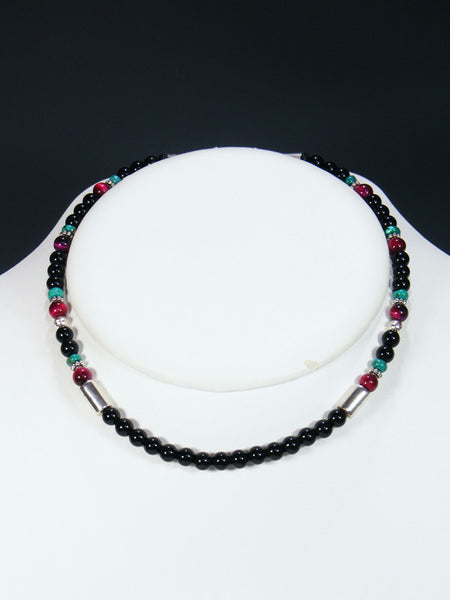 "Onyx and Turquoise 16"" Single Strand Bead Choker Necklace"