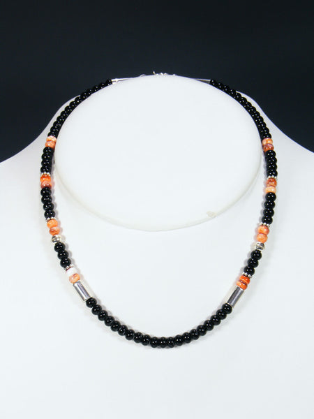 "Onyx and Spiny Oyster 18"" Single Strand Choker Bead Necklace"