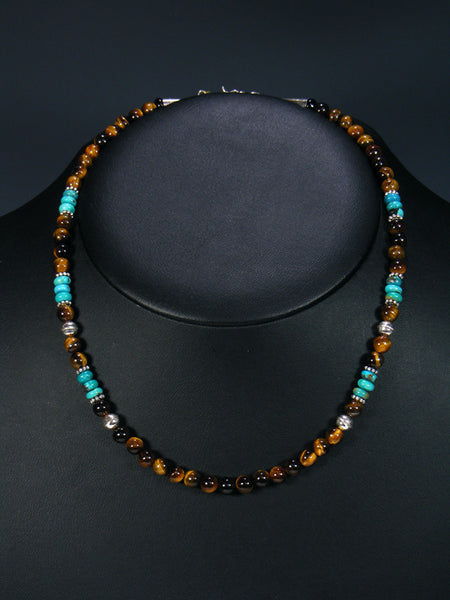 "Tiger Eye and Turquoise 18"" Single Strand Choker Bead Necklace"
