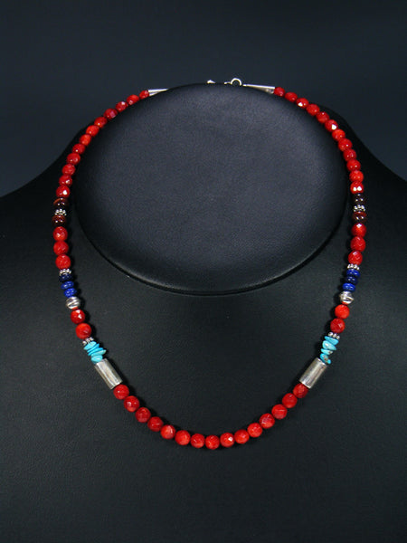 "Coral and Turquoise 18"" Single Strand Choker Bead Necklace"