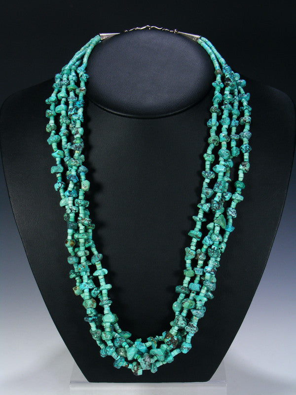 Old Indian Jewelry Multi-Strand Turquoise Necklace