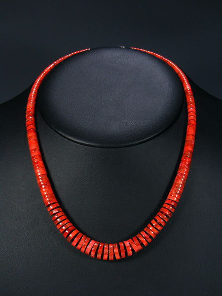 Native American Santo Domingo Apple Coral Necklace