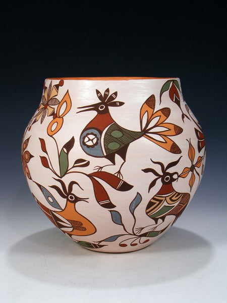 Hand Coiled Acoma Pueblo Parrot Bird Pottery