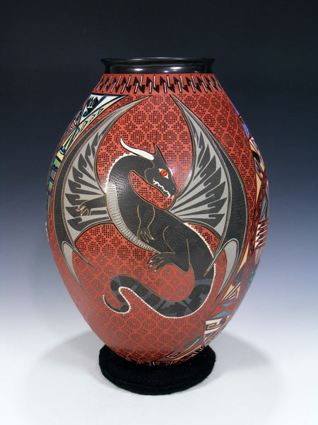 Large Mata Ortiz Hand Coiled Dragon Pottery