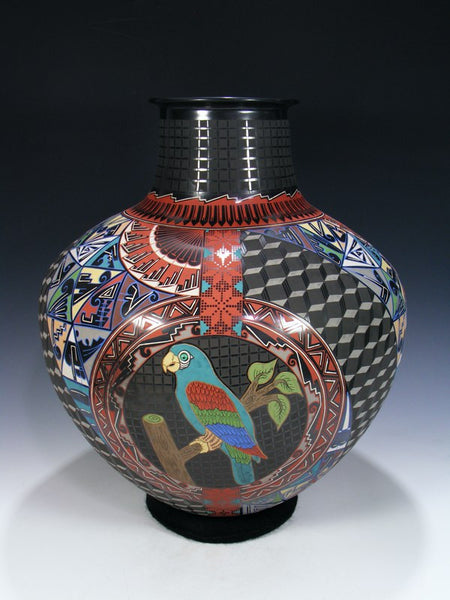 Large Mata Ortiz Hand Coiled Parrot Pottery