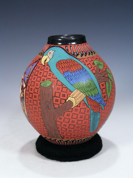 Mata Ortiz Hand Coiled Geometric Parrot Pottery