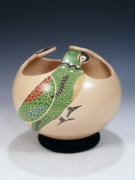 Mata Ortiz Hand Coiled Parrot Pottery