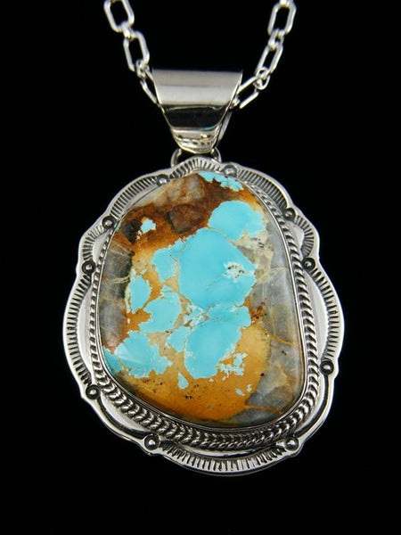 Native American Indian Royston Turquoise Pendant by Joe Piaso Jr - PuebloDirect.com