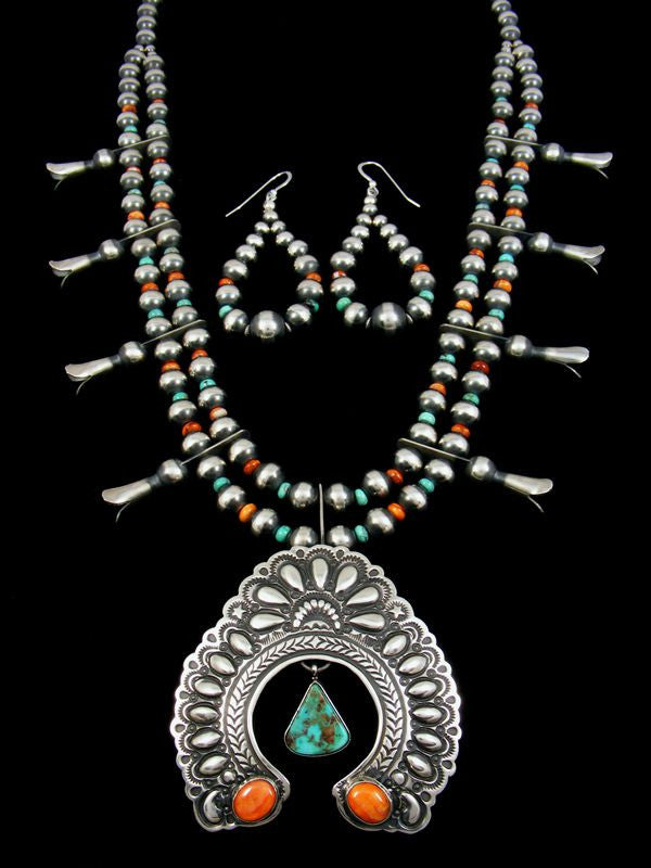Native American Turquoise and Spiny Oyster Squash Blossom Necklace by Darryl Becenti - PuebloDirect.com - 1